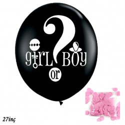 60cm Girl Boy Lateks Cinsiyet Belirleme Balonu Siyah Kız