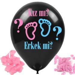 27cm Girl Boy Lateks Cinsiyet Belirleme Balonu Siyah Kız