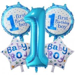 1 Yaş Folyo Mavi Balon Seti 5'li