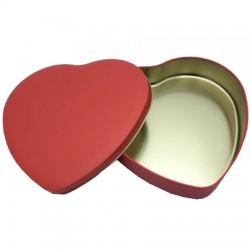 Metal Çikolata Kutusu Kırmızı Kalpli