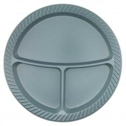 3 Bölmeli Plastik Tabak Gümüş 25'li
