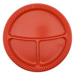 3 Bölmeli Plastik Tabak Kırmızı 25'li