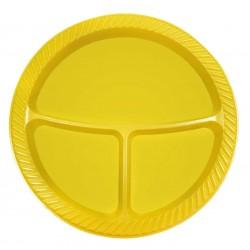 3 Bölmeli Plastik Tabak Sarı 25'li