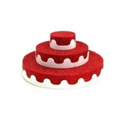 3 Katlı Strafor Pasta Kırmızı